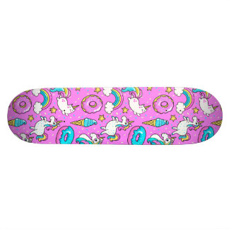 Pink Kitschy glittery funny unicorn and kitty Skateboard Deck