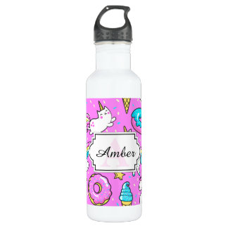 Pink Kitschy glittery funny unicorn and kitty Stainless Steel Water Bottle