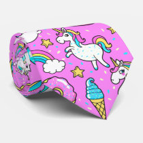 Pink Kitschy glittery funny unicorn and kitty Tie