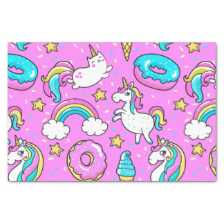 Pink Kitschy glittery funny unicorn and kitty Tissue Paper