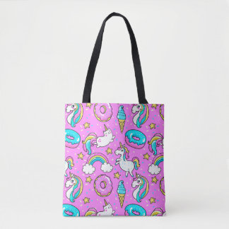 Pink Kitschy glittery funny unicorn and kitty Tote Bag