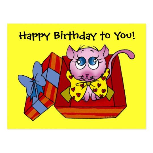 Pink kitten birthday postcard