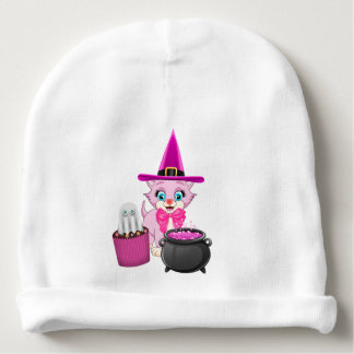 Pink Kitten Halloween Cartoon Baby Beanie