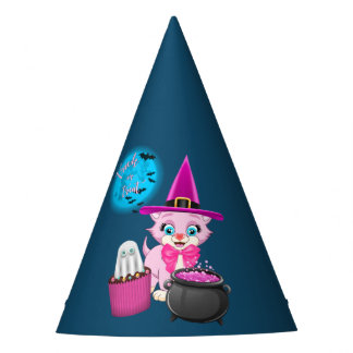 Pink Kitten Halloween Cartoon Party Hat