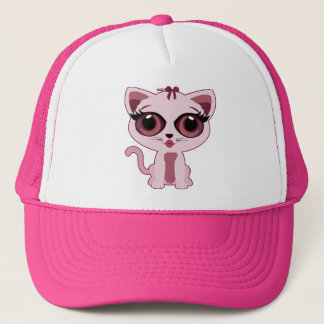 Pink Kitten Trucker Hat