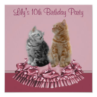 Pink Kittens Girl's 10th Birthday Party 5.25x5.25 Square Paper Invitation Card