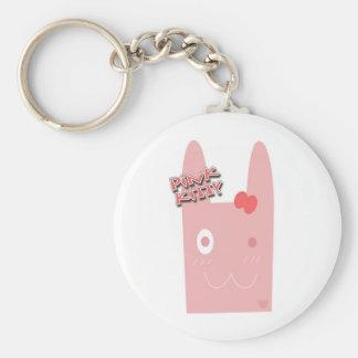 Pink Kitty Basic Round Button Keychain