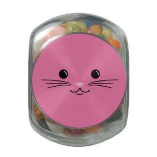 Pink Kitty Cat Cute Animal Face Design Glass Candy Jars