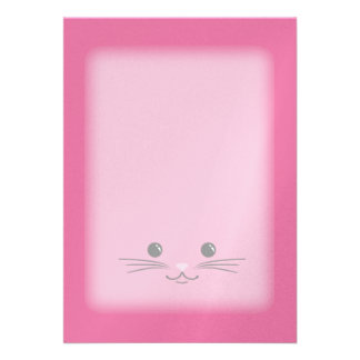 Pink Kitty Cat Cute Animal Face Design Invites