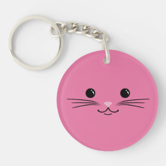 Pink Kitty Cat Cute Animal Face Design Keychain