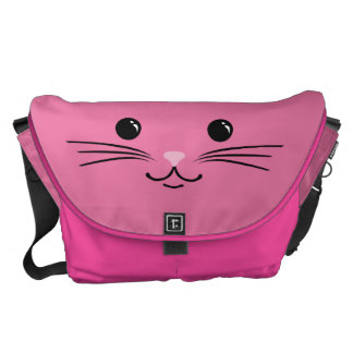Pink Kitty Cat Cute Animal Face Design Messenger Bags