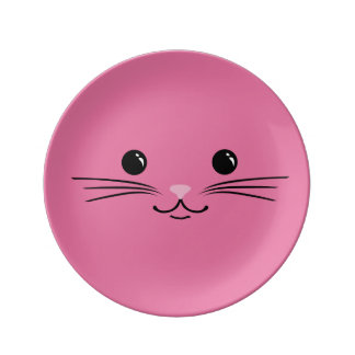Pink Kitty Cat Cute Animal Face Design Plate