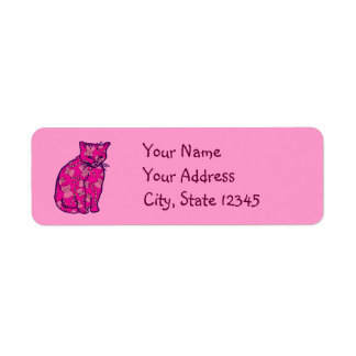Pink Kitty Cat Return Address Label
