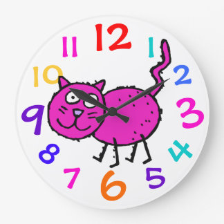 Pink Kitty Colorful Numbers Clock Child's Room