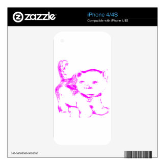 Pink Kitty Kat Skin For iPhone 4S