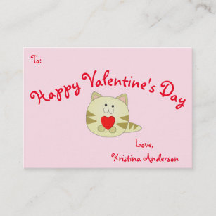 Business valentines day cards zazzle pink kitty love valentines day business card size colourmoves