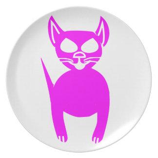 Pink kitty melamine plate
