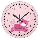 Pink Kitty Nursery Wall Clock