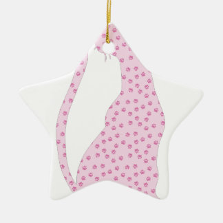 Pink Kitty Double-Sided Star Ceramic Christmas Ornament