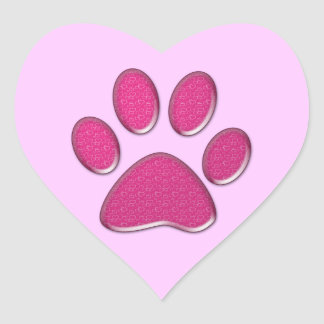 pink kitty paw print heart sticker
