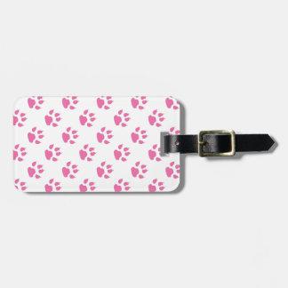 Pink kitty paw print patter bag tags