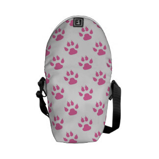 Pink kitty paw print rickshaw messenger bag