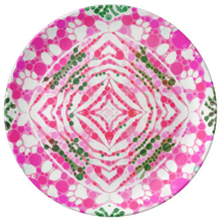 Pink Kitty Paws Zebra Abstract Plate