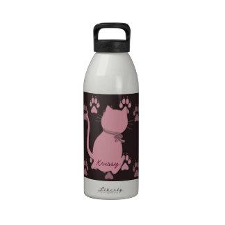 Pink Kitty Reusable Water Bottles