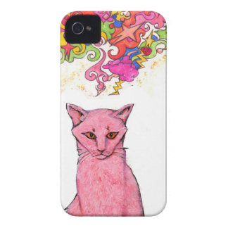 Pink Kitty with Psychedelic Thoughts iPhone 4 Cover