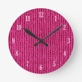 Pink knitted wool round clock