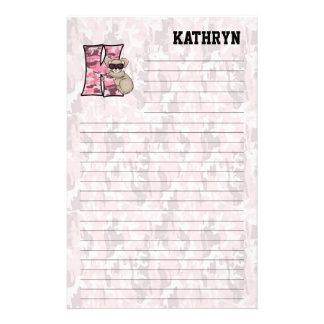 """Pink Koala Mongram """"K"""" Lined Stationery"""
