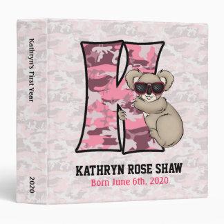 "Pink Koala Monogram ""K"" Baby Scrapbook Binder"