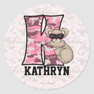 "Pink Koala Monogram ""K"" Personalized Stickers"