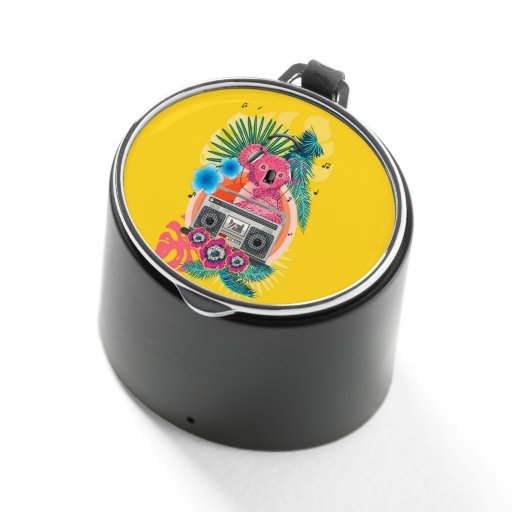 Pink koala with boombox and tropical leaves design bluetooth speaker