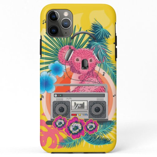 Pink koala with boombox and tropical leaves design iPhone 11 pro max case