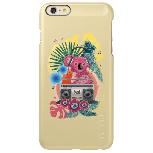 Pink koala with boombox and tropical leaves design incipio feather shine iPhone 6 plus case