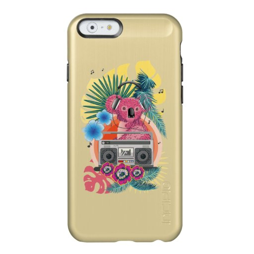 Pink koala with boombox and tropical leaves design incipio feather shine iPhone 6 case