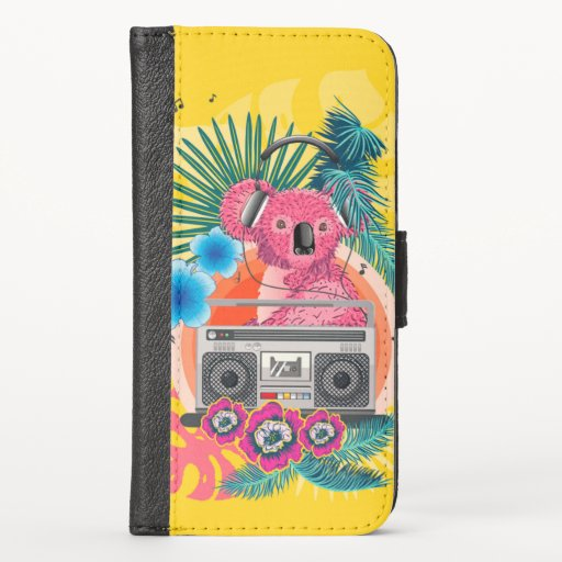 Pink koala with boombox and tropical leaves design iPhone XS wallet case
