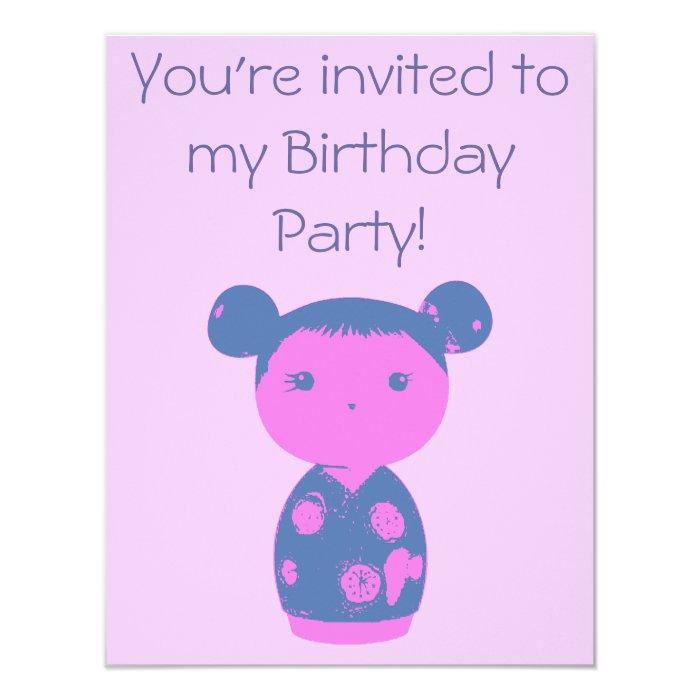 Pink Kokeshi Blue Birthday Party Invitation