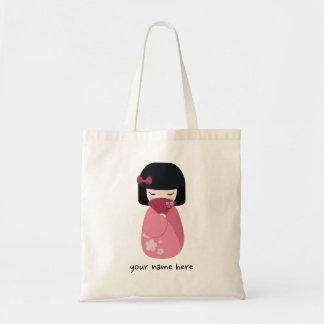 PINK Kokeshi Doll Cute Japanese Geisha Tote Bag