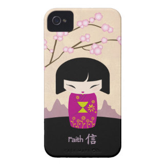 Pink kokeshi - faith - blackberry case
