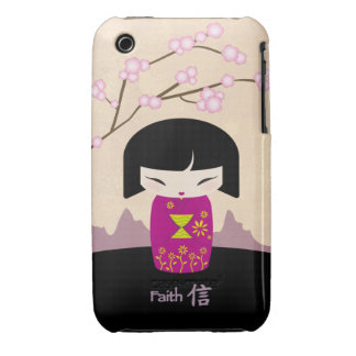 Pink kokeshi - faith iPhone 3 case