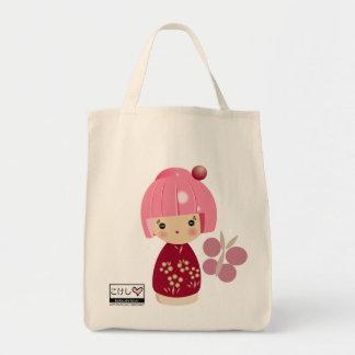 Pink Kokeshi Triplet Grocery Tote Bag