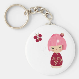 Pink Kokeshi Triplet Keychain