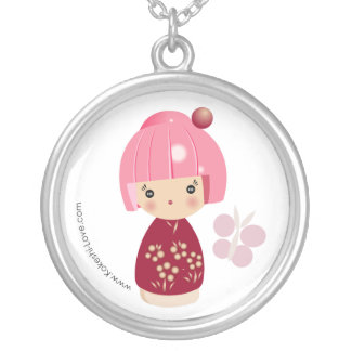 Pink Kokeshi Triplet Necklace