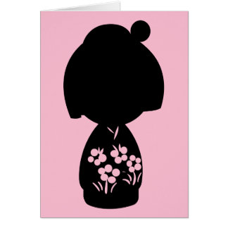 Pink Kokeshi Triplet Silhouette Note Card