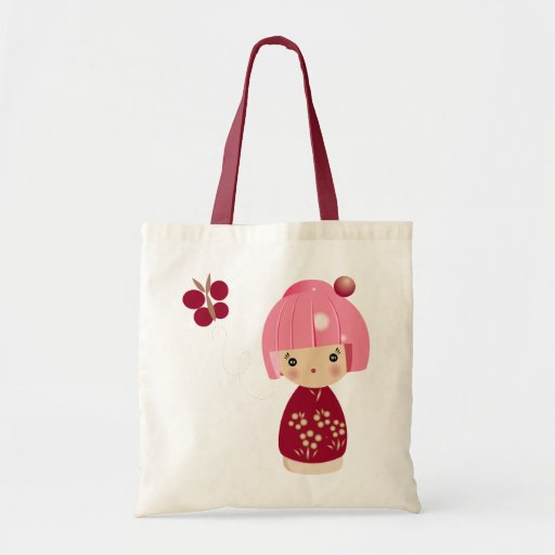 Pink Kokeshi Triplet Tote Canvas Bags