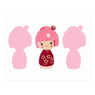 Pink Kokeshi Triplet x3 Postcard