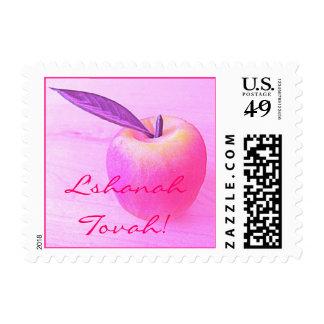 Pink L Shanah Tovah Apple Stamp