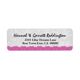 Pink Lace Address Label V005